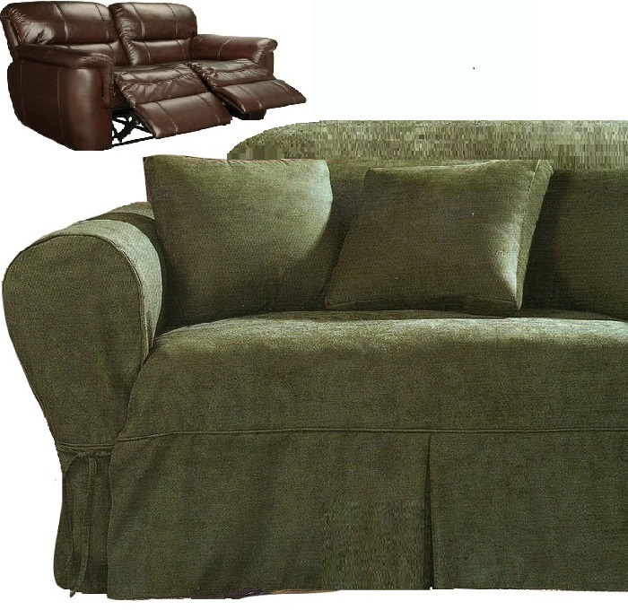 Admirable Dual Reclining Loveseat Slipcover Heavy Suede Forest Green Sure Fit Creativecarmelina Interior Chair Design Creativecarmelinacom