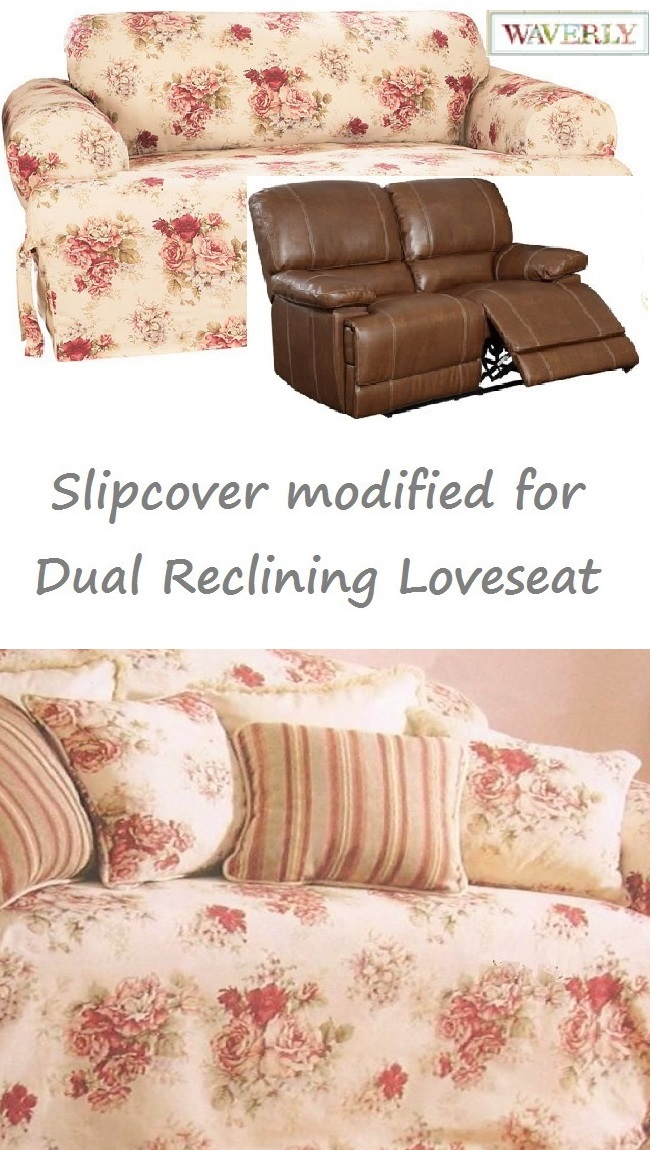 Swell Dual Reclining Loveseat Slipcover T Cushion Waverly Vintage Rose Cover Andrewgaddart Wooden Chair Designs For Living Room Andrewgaddartcom
