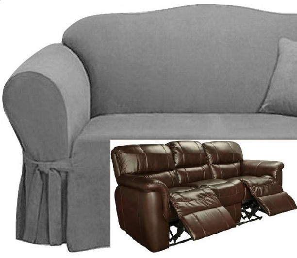 Amazing Dual Reclining Sofa Slipcover Suede Grey Surefit Recliner Couch Gray Andrewgaddart Wooden Chair Designs For Living Room Andrewgaddartcom