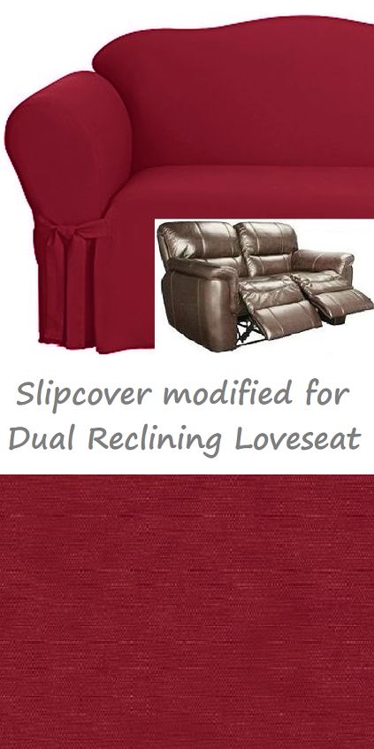 Dual Reclining Loveseat Slipcover Cotton Burgundy Sure Fit