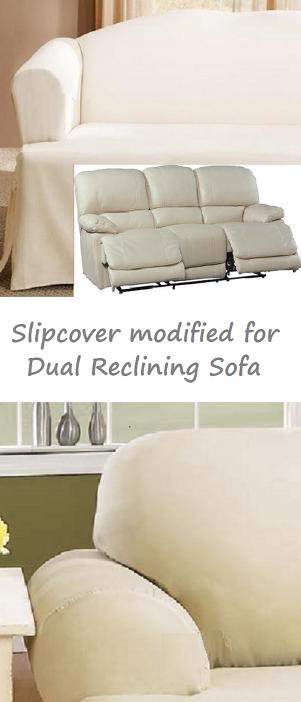 Dual Reclining Sofa Slipcover T Cushion Cotton Cream Sure