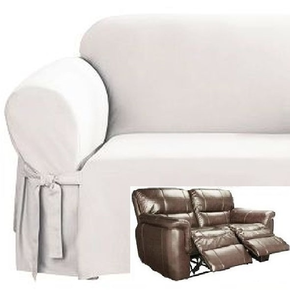 Dual Reclining Loveseat Slipcover White Cotton Sure Fit