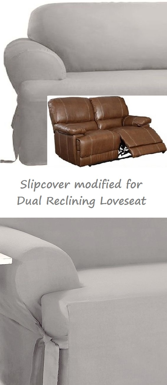 Dual Reclining Loveseat Slipcover T Cushion Cotton Gray