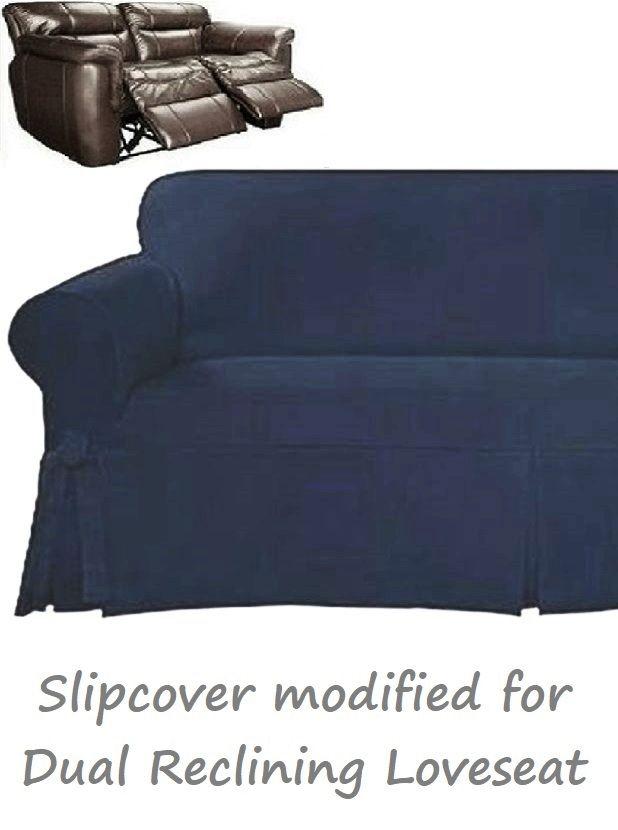 Sensational Dual Reclining Loveseat Slipcover Farmhouse Twill Navy Blue Sure Fit Machost Co Dining Chair Design Ideas Machostcouk