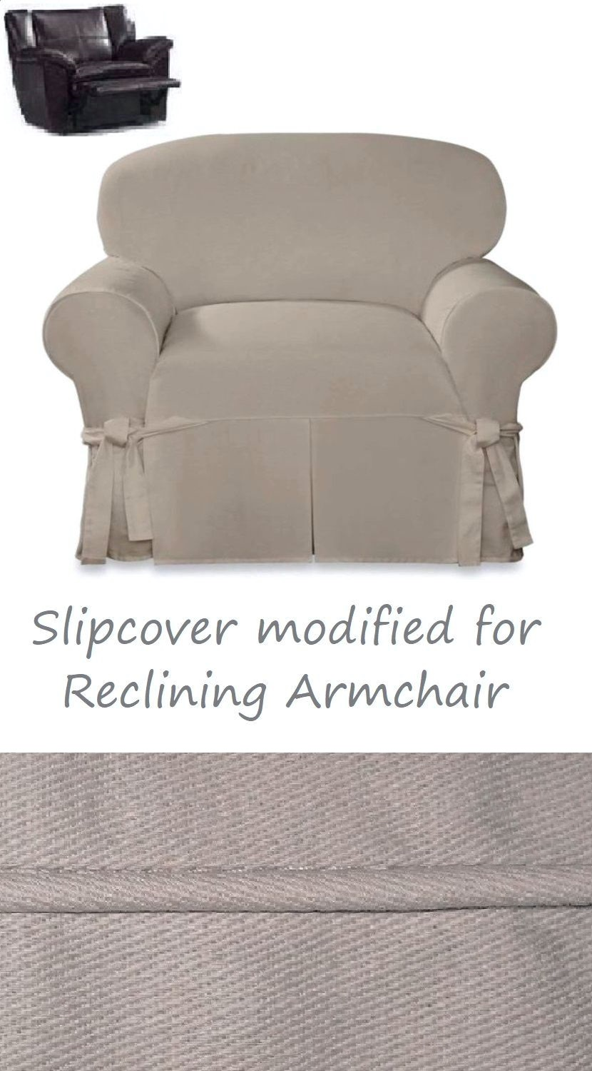 Super Reclining Chair Slipcover Farmhouse Twill Taupe Surefit Armchair Cover Ibusinesslaw Wood Chair Design Ideas Ibusinesslaworg