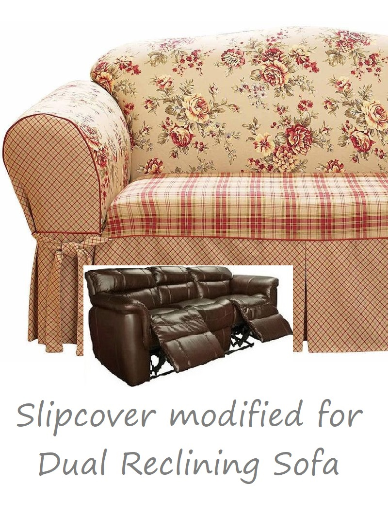 Superb Dual Reclining Sofa Slipcover Shabby Toile Red Sure Fit Couch Cover Caraccident5 Cool Chair Designs And Ideas Caraccident5Info