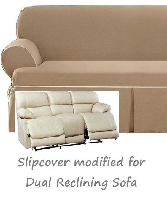 Pleasant Dual Reclining Sofa Slipcover T Cushion Contrast Caramel Surefit Couch Beatyapartments Chair Design Images Beatyapartmentscom