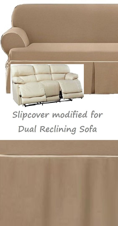 Dual Reclining Sofa Slipcover T Cushion Contrast Caramel