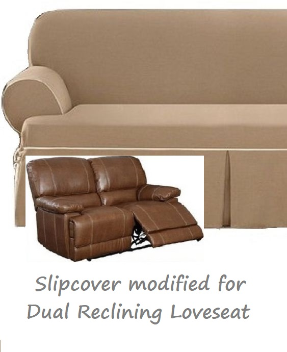 Prime Dual Reclining Loveseat Slipcover T Cushion Contrast Caramel Sure Fit Beatyapartments Chair Design Images Beatyapartmentscom