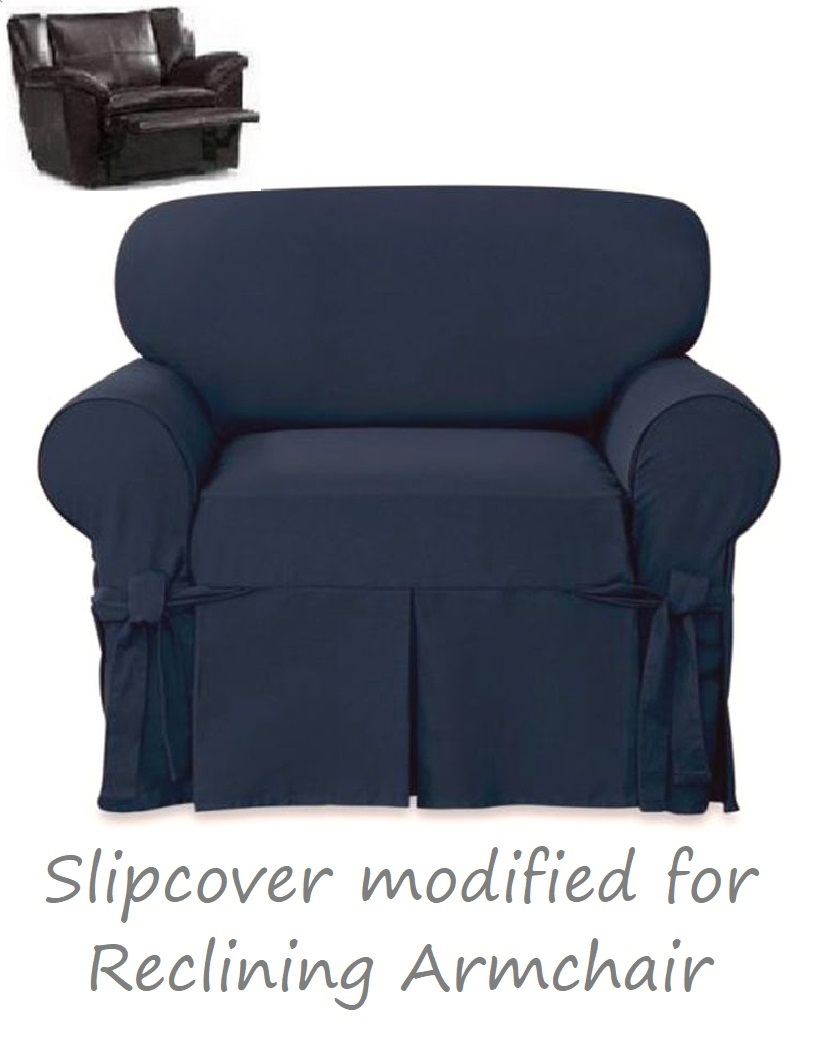 Outstanding Reclining Chair Slipcover Farmhouse Twill Navy Blue Surefit Armchair Dailytribune Chair Design For Home Dailytribuneorg