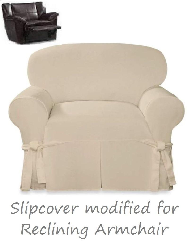 Surprising Reclining Chair Slipcover Farmhouse Twill Cream Surefit Armchair Cover Ibusinesslaw Wood Chair Design Ideas Ibusinesslaworg