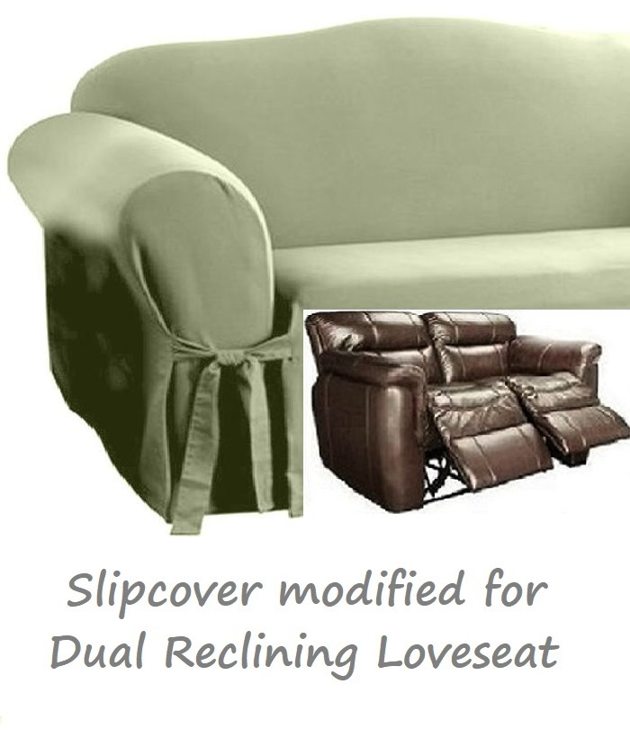 Dual Reclining Loveseat Slipcover Sage Green Cotton Sure