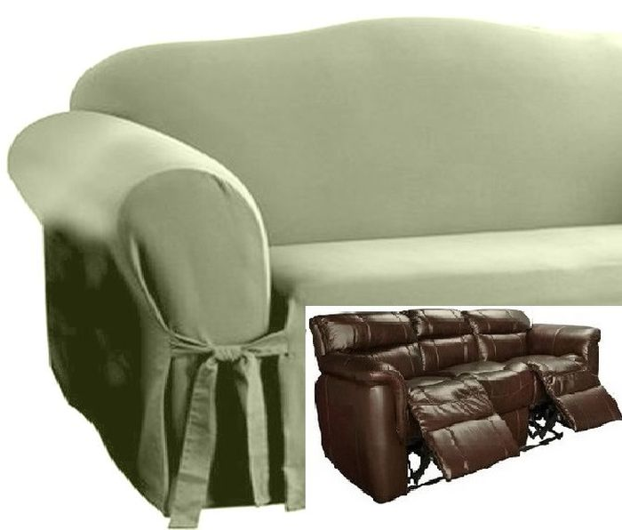 Strange Dual Reclining Sofa Slipcover Cotton Sage Green Sure Fit Couch Cover Gmtry Best Dining Table And Chair Ideas Images Gmtryco