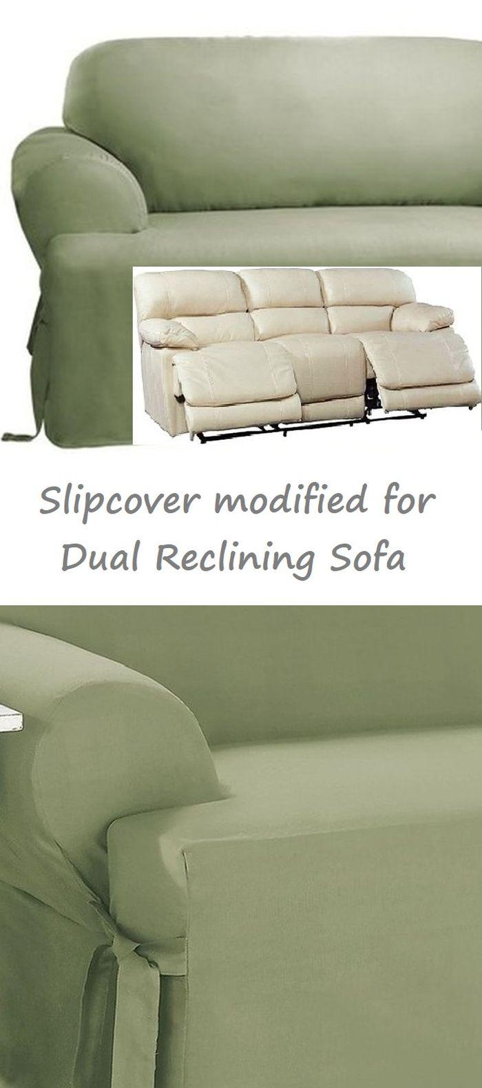 Dual Reclining Sofa Slipcover T Cushion Cotton Sage Green