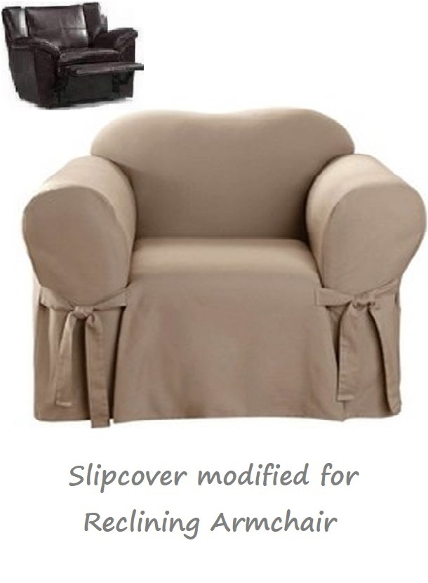 Reclining Chair Slipcover Cotton Taupe Sure Fit Armchair