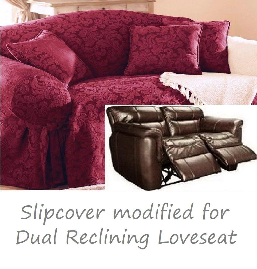 Swell Dual Reclining Loveseat Slipcover Damask Burgundy Sure Fit Love Seat Inzonedesignstudio Interior Chair Design Inzonedesignstudiocom