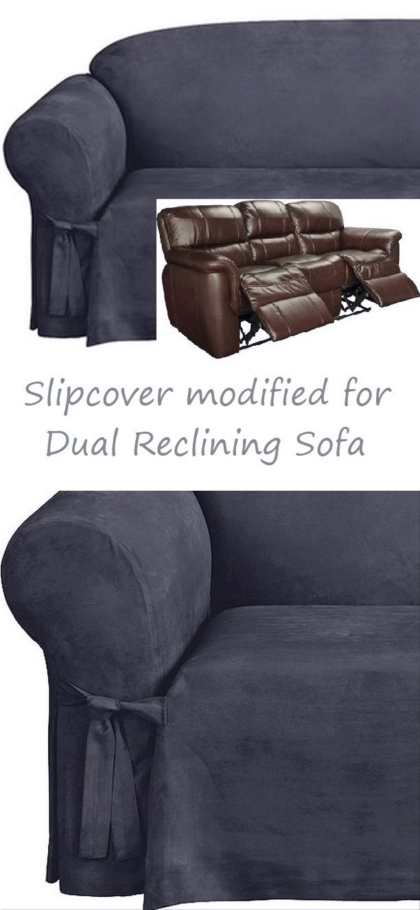 Dual Reclining Sofa Slipcover Midnight Blue Suede Sure Fit