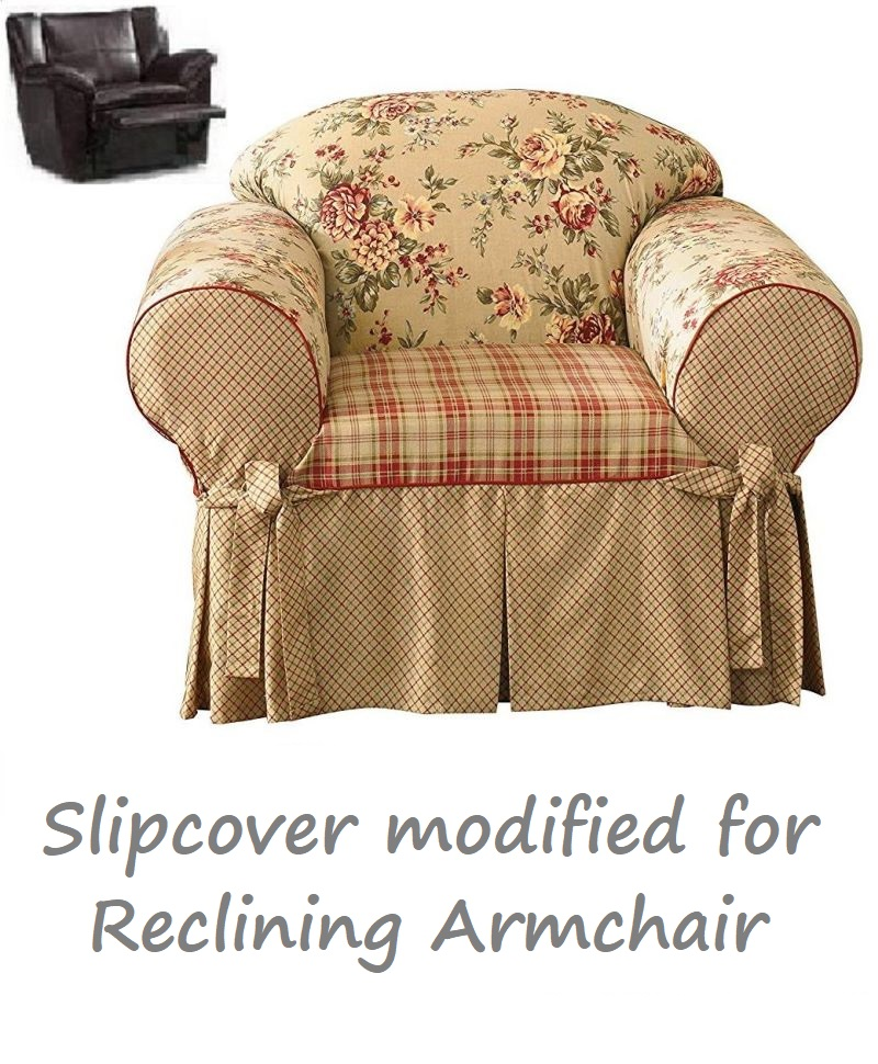 Magnificent Reclining Chair Slipcover Shabby Toile Red Sure Fit Armchair Cover Caraccident5 Cool Chair Designs And Ideas Caraccident5Info