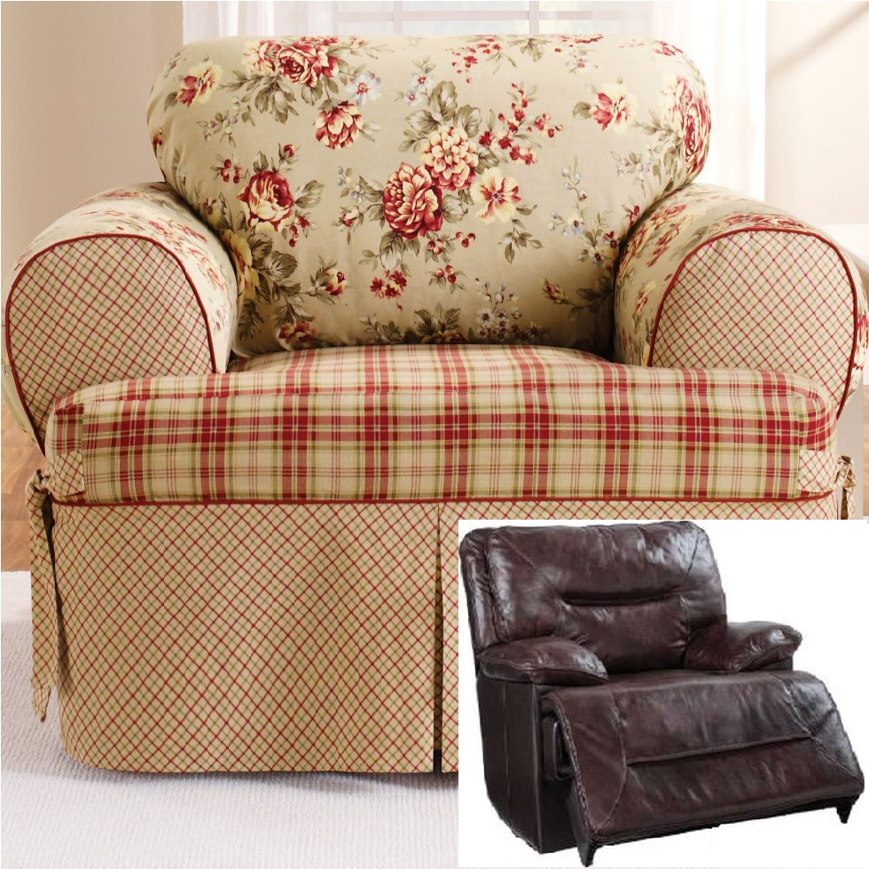 Astonishing Reclining Chair Slipcover T Cushion Shabby Toile Red Sure Fit Armchair Ibusinesslaw Wood Chair Design Ideas Ibusinesslaworg