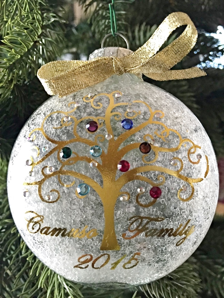 Christmas Ornaments Personalized.Personalized Family Christmas Ornament With Genuiine Swarovski Birthstone Crystals