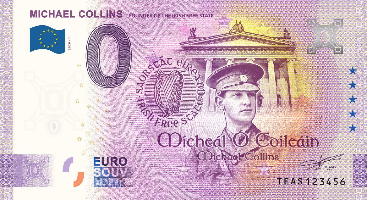 Commemorative Michael Collins 0 Euro Souvenir Banknote