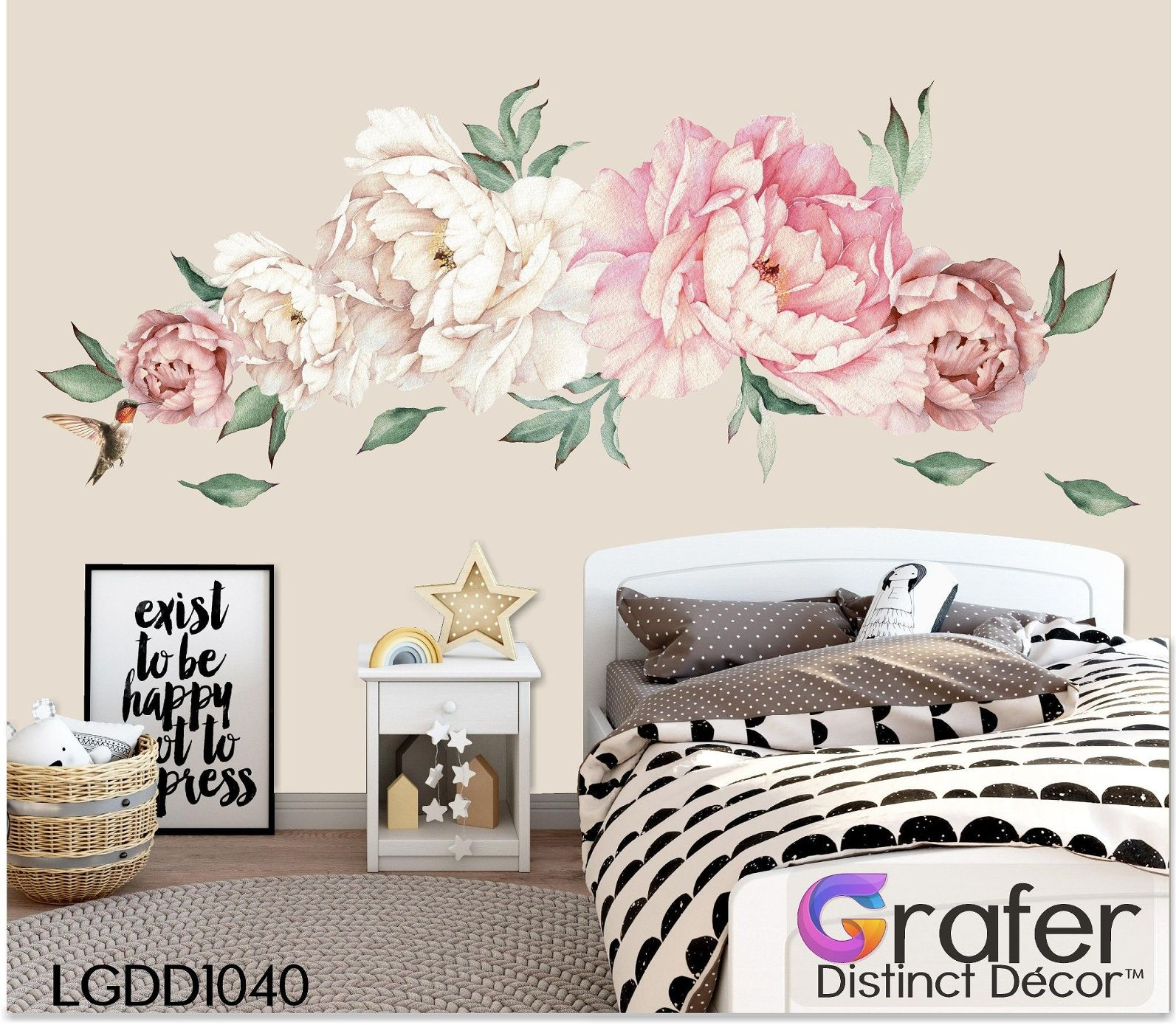 Peony Flowers Decal Watercolor Peony Large Self Adhesive