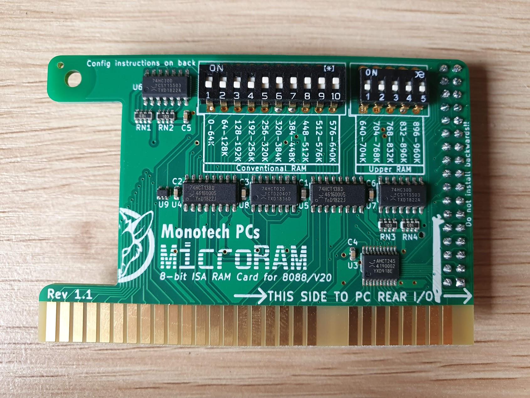 MicroRAM - 640K + UMB RAM - 8-bit ISA