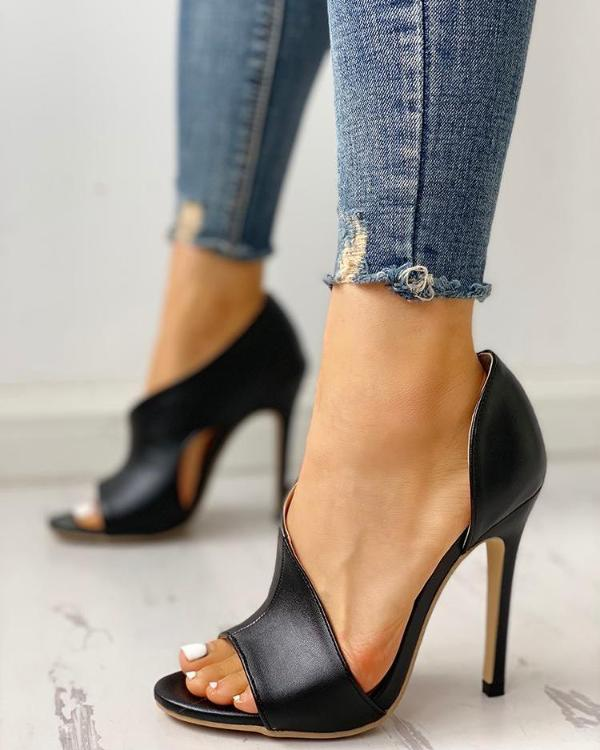 Fashion Solid Color Open Toe High Heel