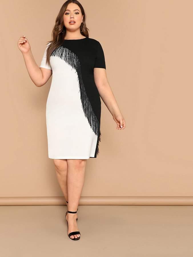 SHEIN Plus Size Fringe Front Two Tone Pencil Dress