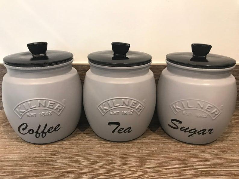 Glamjar Grey Kilner Tea Coffee Sugar Canisters With Black