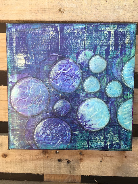 Circles- mixed media canvas 12 x 12