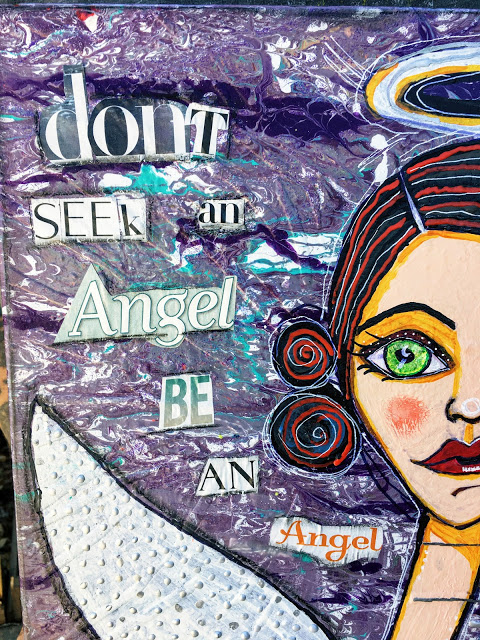 "Be An Angel- mixed media canvas 12"" x 16"""
