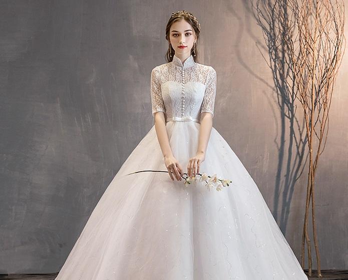 Springsummer Lace Vintage High Collar Princess Wedding Dress