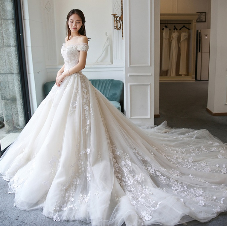 French Fairy Summer Floral Beaded Princess Wedding Dress