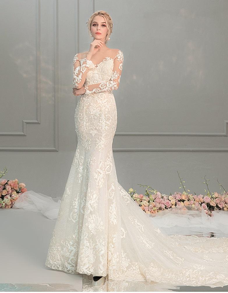 French Lace Floral Hepburn Mermaid Wedding Dress