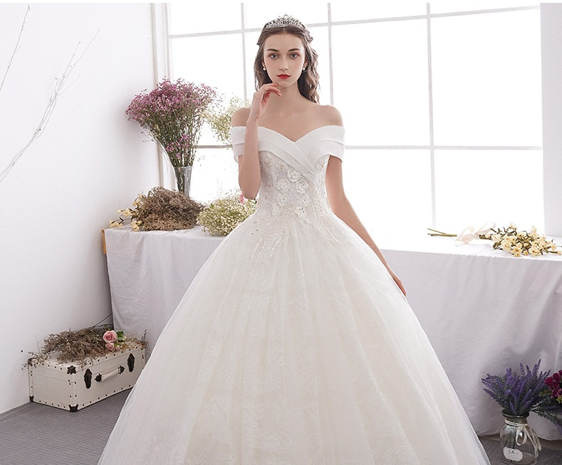 Summer Off Shoulder French Flower Beaded Empire Wedding Gown