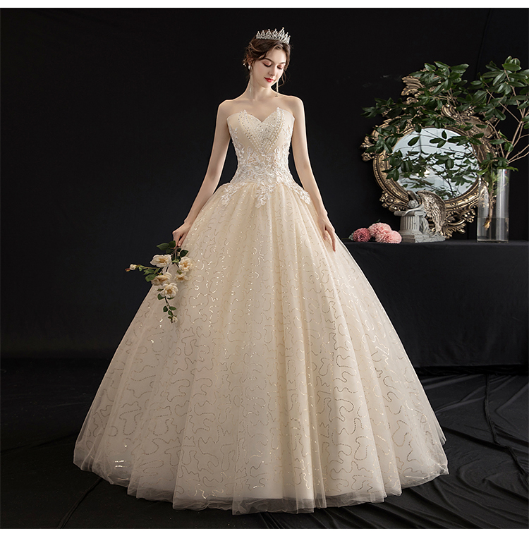 Summer Light Champagne Tube Top Lace Princess Wedding Dress