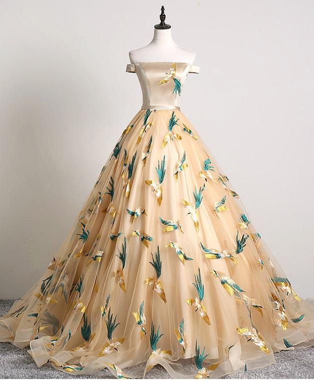 Luxury Noble Silk Satin Handmade Yellow Evening Gown