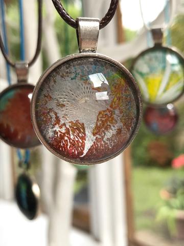 Monoprinted glass pendant - silver, rust, blue