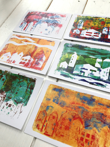 Pack of A6 gel plate print cards