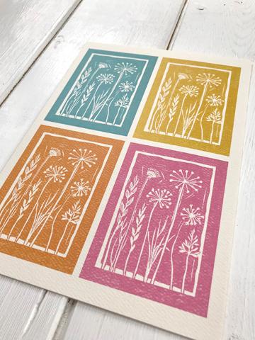 Greeting card - Seed head linoprints