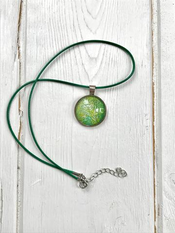 Monoprinted glass pendant - green, lemon and white
