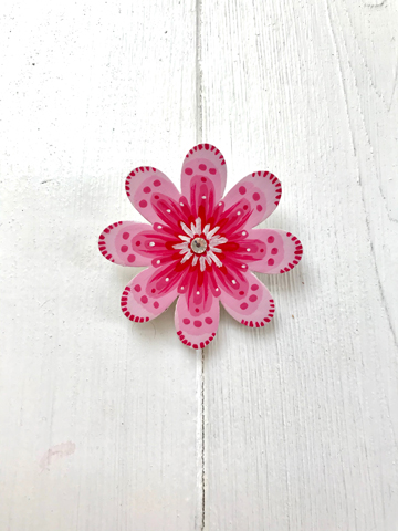 Flower brooch - pink and cerise