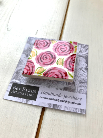 Square brooch - old fashioned roses