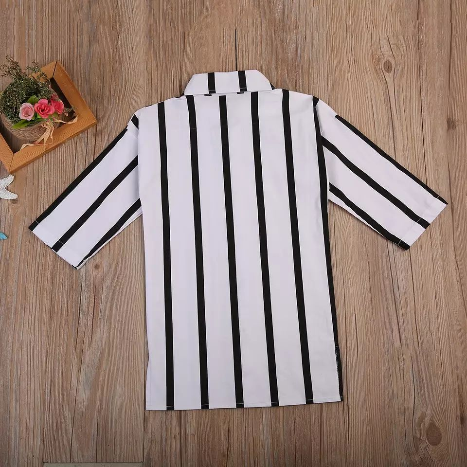 Casual Long Sleeve Black And White Striped Dress