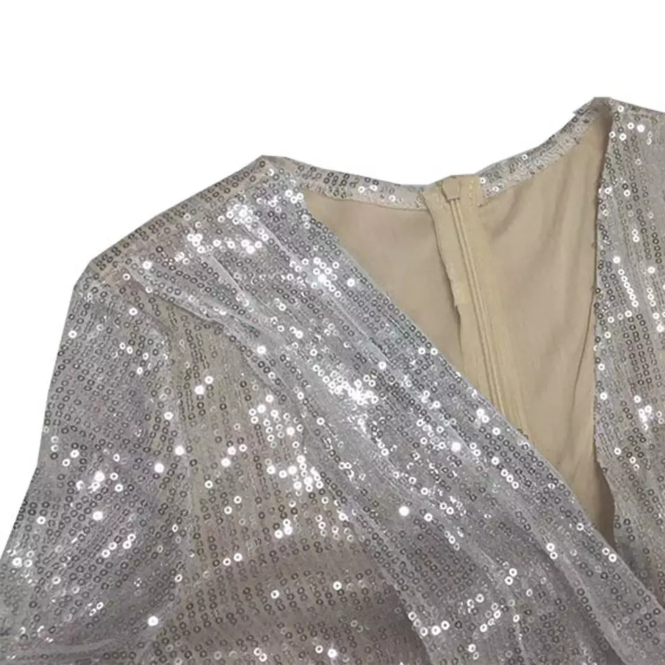 Deep V Neck Shiny Sequin Silver Party Dress
