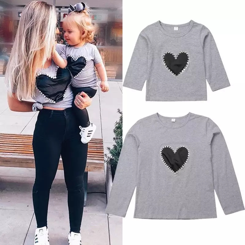 Family Matching Mother And Daughter Long Sleeve Cotton Heart Print T- shirts