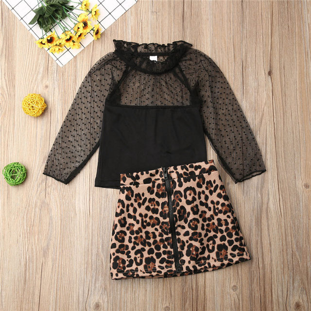 Toddlers Lace Tops &Leopard Print Skirts Dress