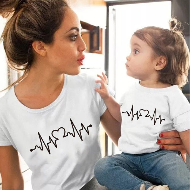 Love Heartbeat Cotton family matching T-shirts
