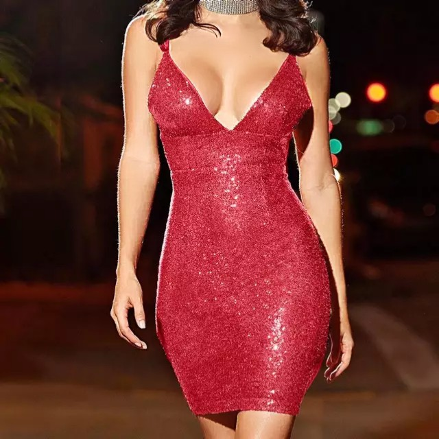 Sexy, Elegant And Backless Sequined Mini Dress